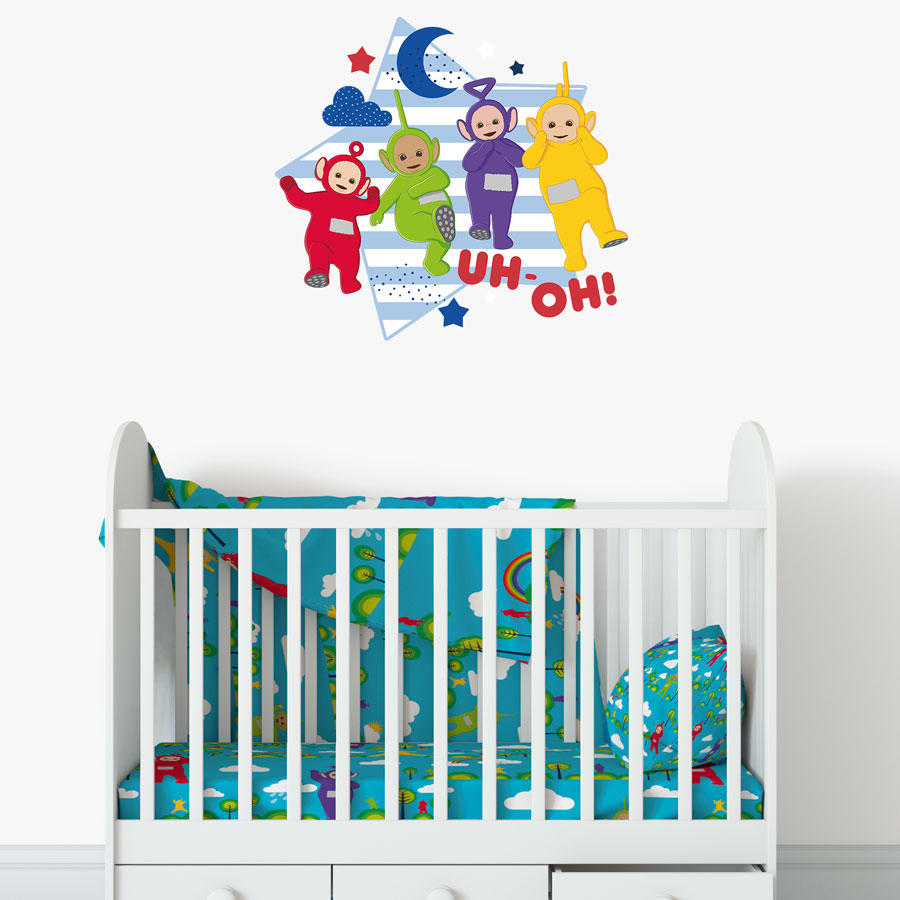 Teletubbies with star wall sticker (Regular size) perfect for decorating your child's bedroom with a Teletubbies theme