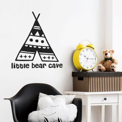 Little bear cave wall sticker in black perfect for decorating a little ones bedroom or playroom in a contemporary woodland theme