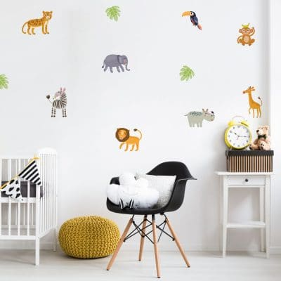 Jungle friends wall sticker pack perfect for creating a contemporary jungle themed room for your child's bedroom or playroom