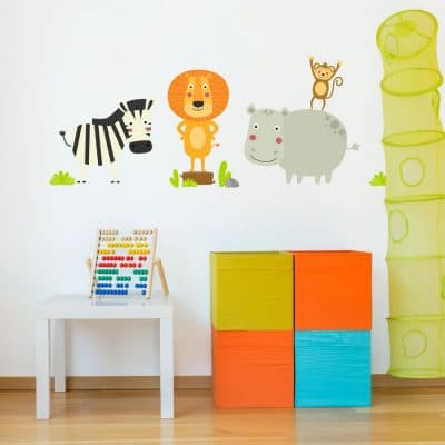 Cute jungle animals wall sticker pack the perfect to add a fun jungle theme to your child's bedroom or playroom