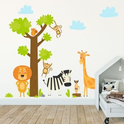 Jungle animals and tree wall sticker pack perfect for creating a jungle themed bedroom or playroom