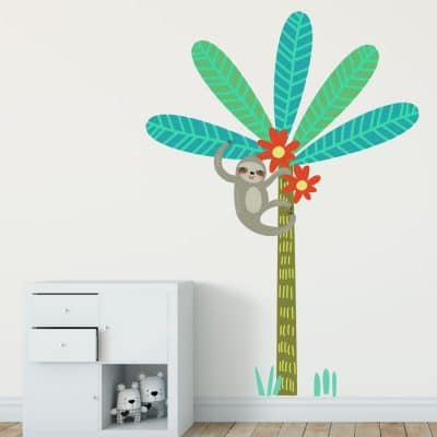 Sloth with jungle tree wall sticker perfect for creating a fun jungle theme room for your little boy or girl