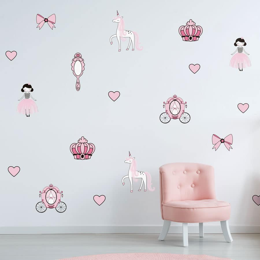 Princesses wall sticker pack perfect for creating a princess theme in your child's bedroom or playroom