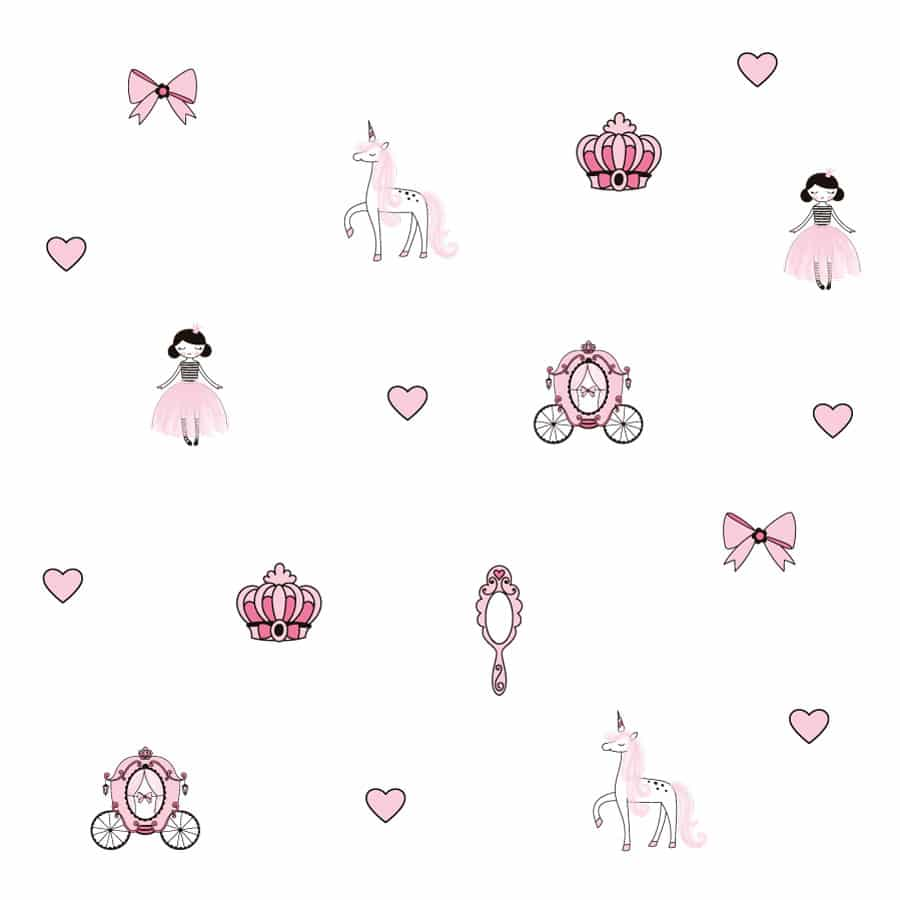 Princesses wall stickers on a white background
