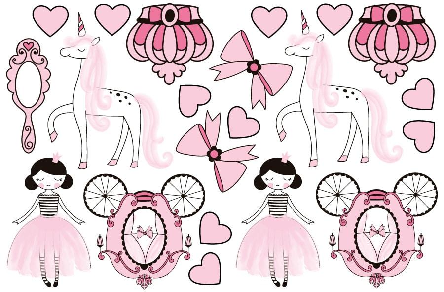 Princesses wall stickers sheet layout