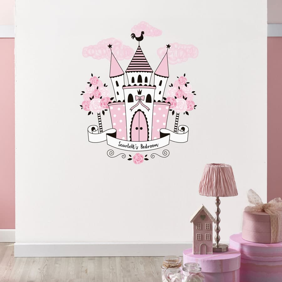 Personalised princess castle wall sticker perfect for creating a princess themed child's bedroom or playroom