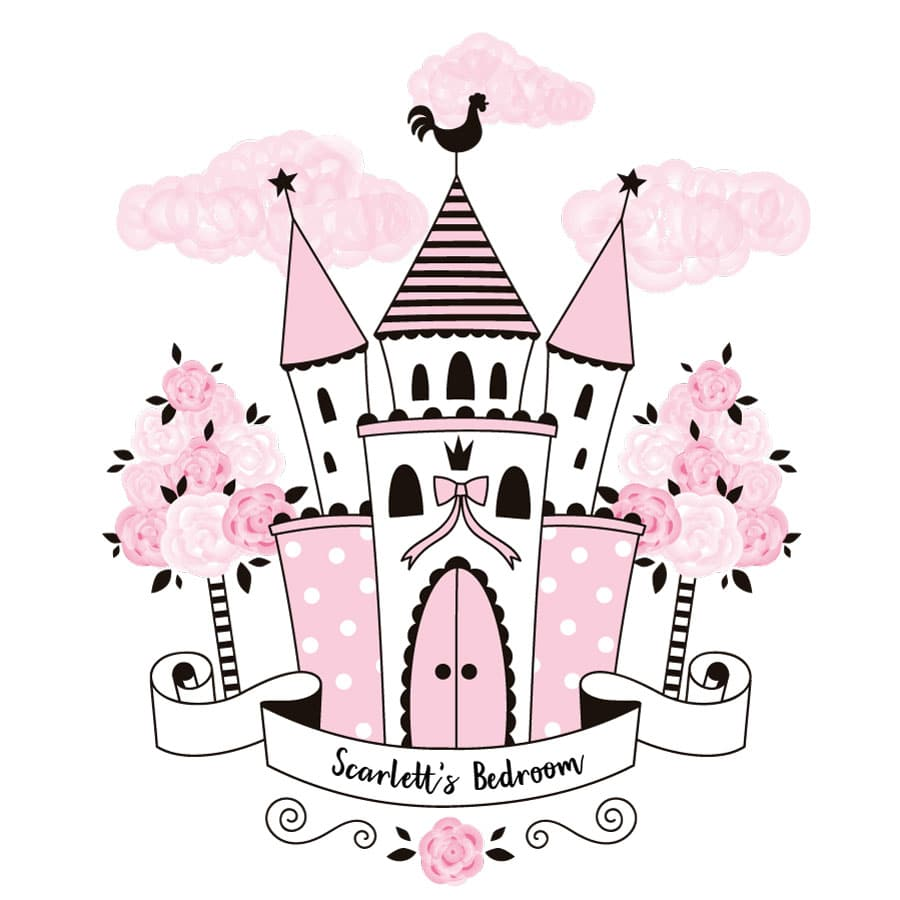 Personalised princess castle wall sticker on a white background