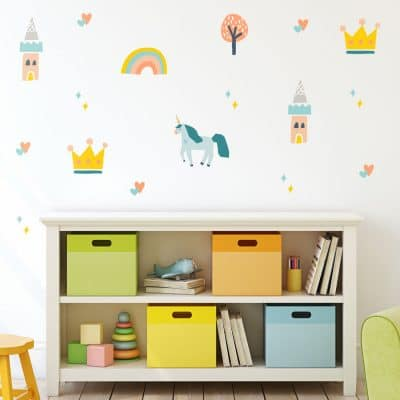 Unicorns and castles wall stickers perfect for creating a contemporary unicorn and princess inspired child's bedroom, nursery or playroom