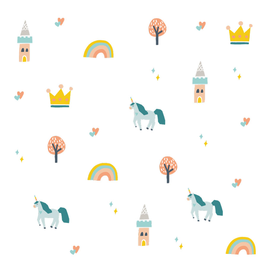 Unicorns and castles wall stickers on a white background