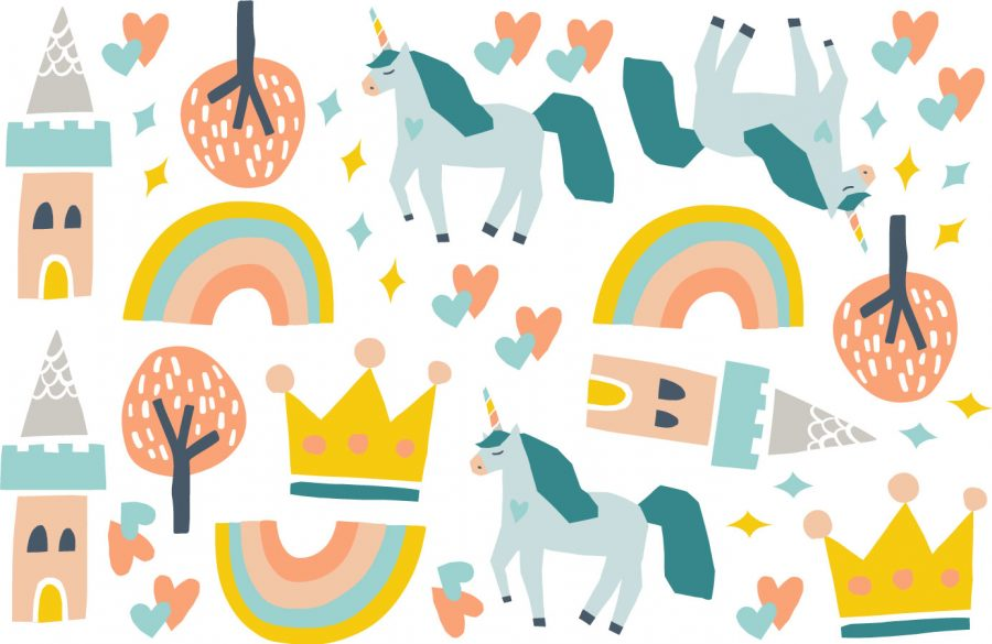 Unicorns and castles wall stickers sheet layout