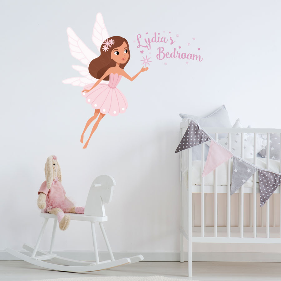 Personalised sparkly fairy wall sticker perfect for creating a fairy themed child's bedroom or playroom