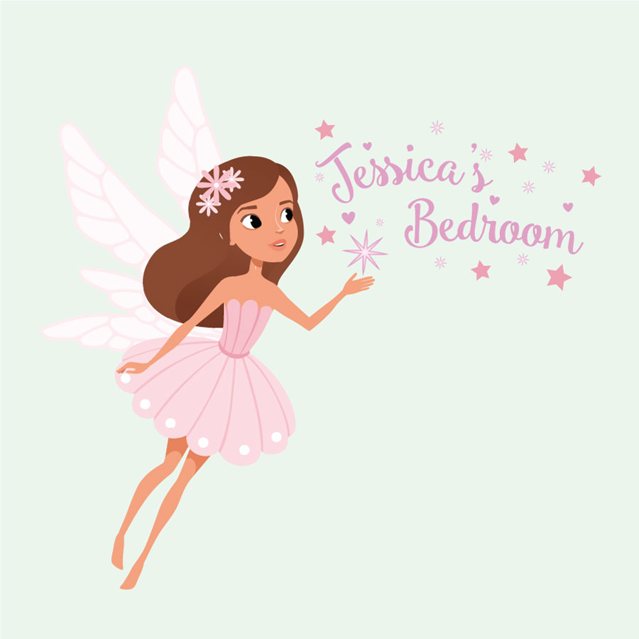 Personalised sparkly fairy wall sticker on a light green background