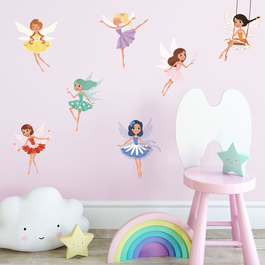 Colourful fairy wall stickers perfect for creating a fun fairy themed child's bedroom or playroom