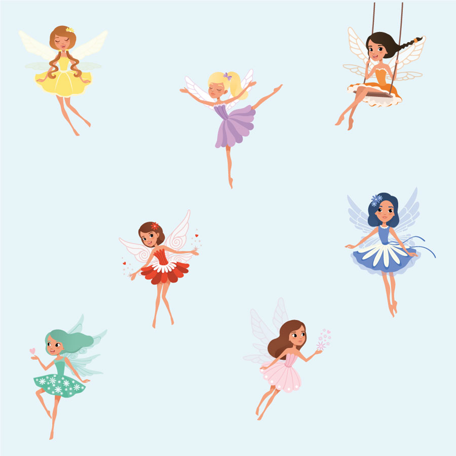 Colourful fairy wall stickers on a light blue background
