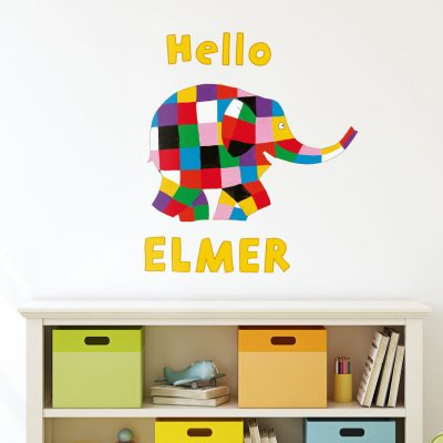 Hello Elmer wall sticker (Large size) perfect for creating an Elmer theme in your child's bedroom or playroom