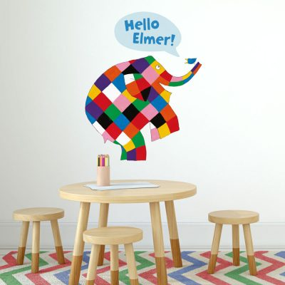 Speech bubble Elmer wall sticker (Large size) perfect for creating an Elmer theme in your child's bedroom or playroom