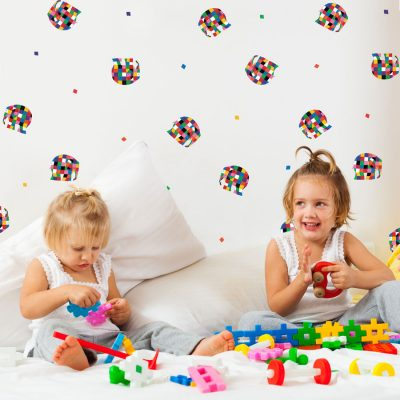 Elmer colourful stickaround pack is a great way to add a contemporary Elmer theme to your child's room by simply dotting across a plain painted wall