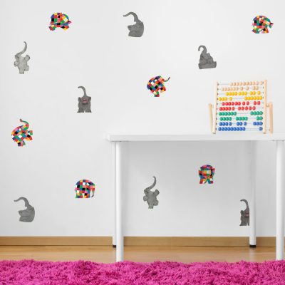 Elmer and elephants stickaround pack is a great way to add a contemporary Elmer theme to your child's room by simply dotting across a plain painted wall