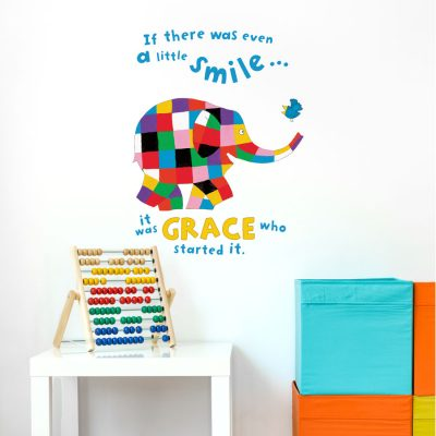 Personalised Elmer little smile wall sticker (Regular size) perfect for creating a unique Elmer theme in your child's bedroom, playroom or nursery