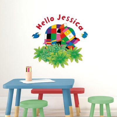 Personalised hello Elmer wall sticker (Regular size) a perfect way to add a unique design to create an Elmer themed bedroom or playroom for fans of the popular children's book