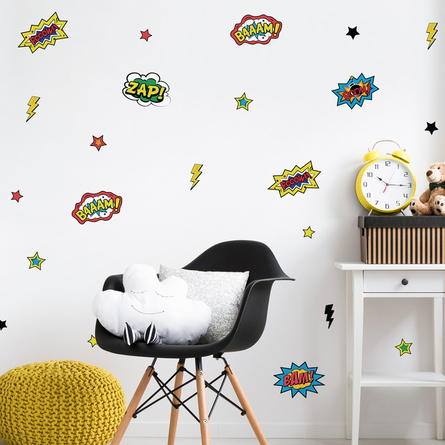 Comic book wall stickers perfect for decorating your child's bedroom with a retro comic book theme