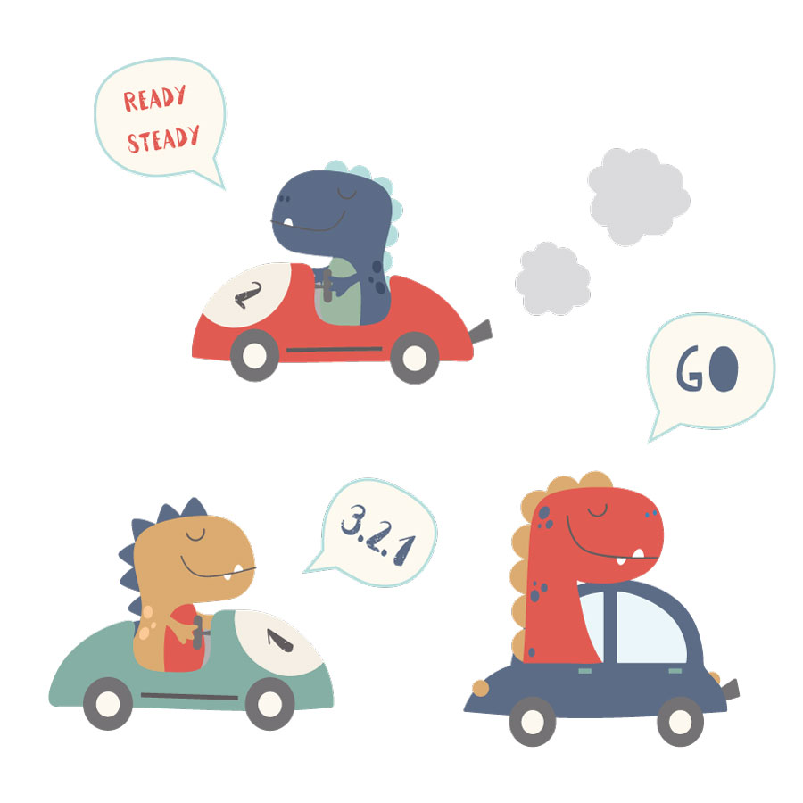 Dino car wall sticker pack on a white background