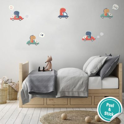 Dino car wall sticker pack is a great fun addition for a dino themed bedroom