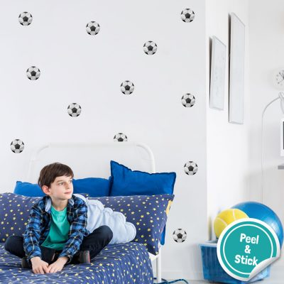 Football wall stickers perfect for decorating a child's bedroom with a simple football theme