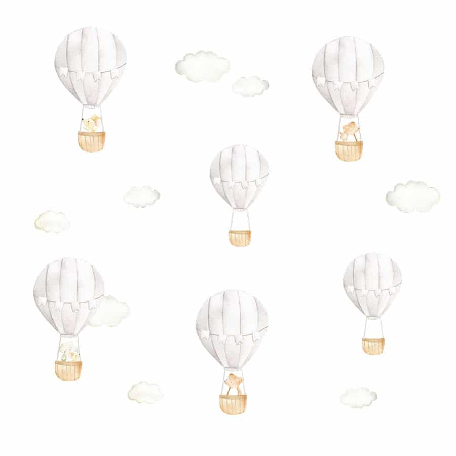 Hot air balloon wall stickers on a white background