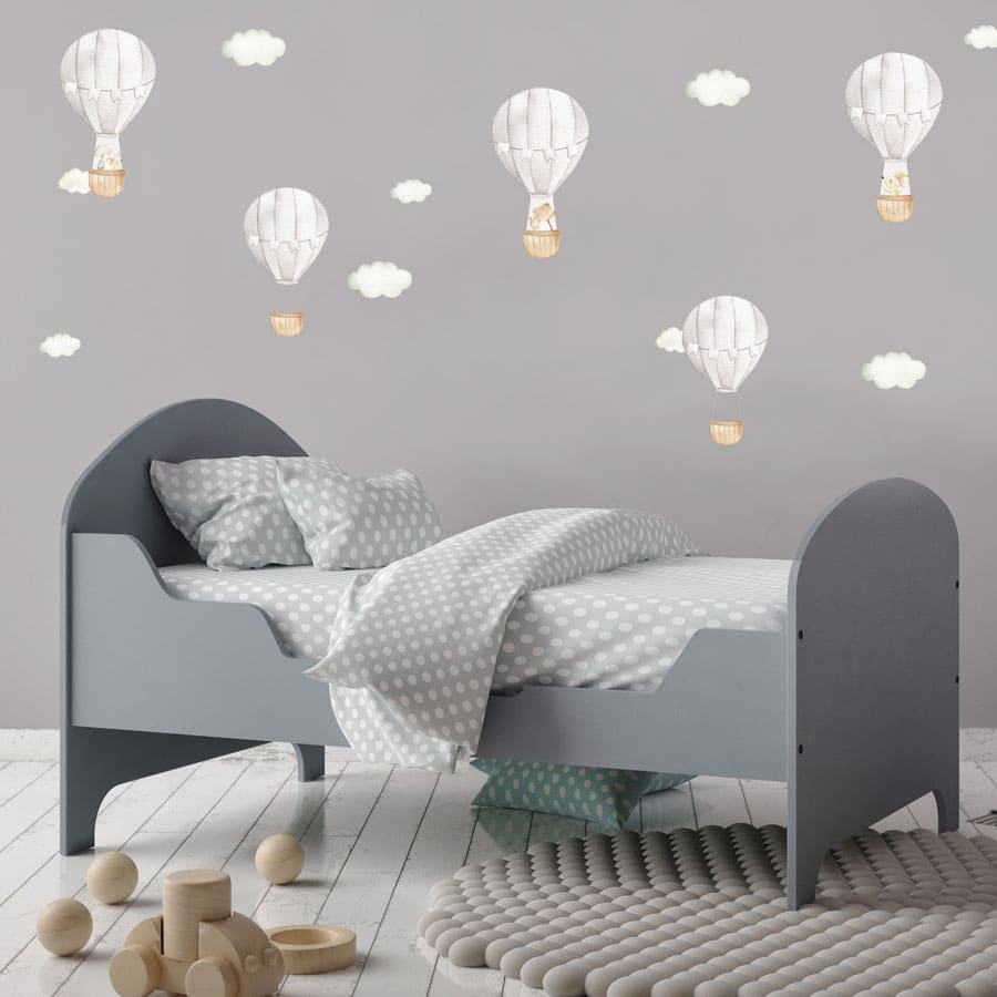 Grey hot air balloon wall stickers perfect for decorating a child's bedroom, nursery or playroom.