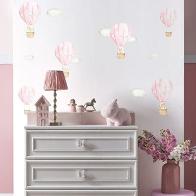 Pink hot air balloon wall stickers perfect for decorating a child's bedroom, nursery or playroom.