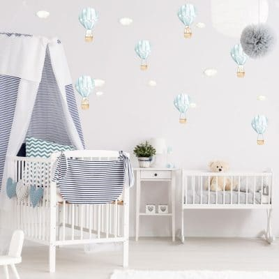 Blue hot air balloon wall stickers perfect for decorating a child's bedroom, nursery or playroom.