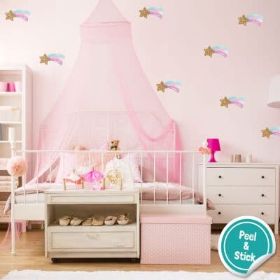 Shooting star wall sticker pack perfect for creating a pastel theme room.