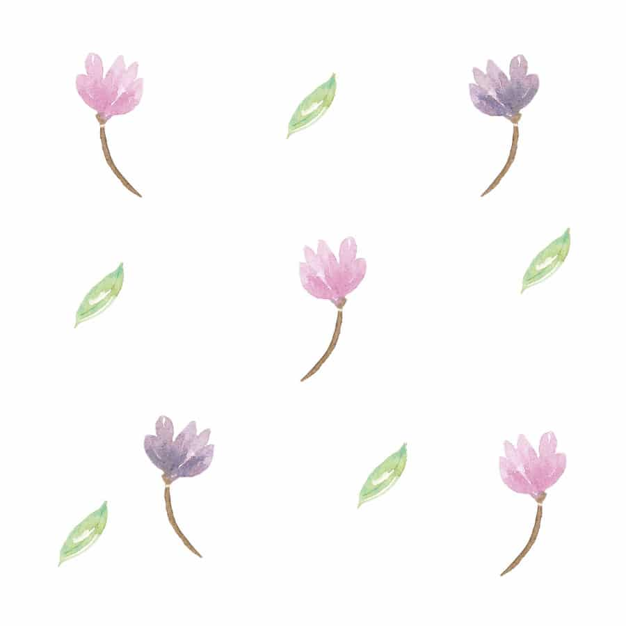 Watercolour flower wall stickers on a white background