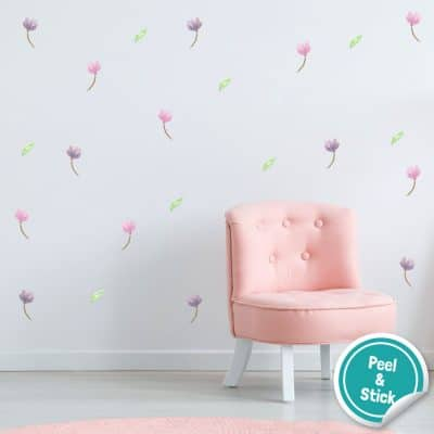 Watercolour flower wall stickers are a perfect way to decorate your child's bedroom, playroom or nursery with a simple, floral theme.