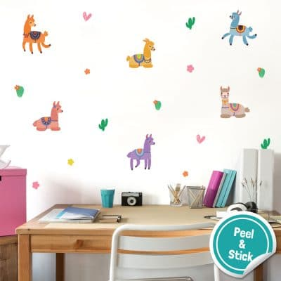 Llama wall stickers are a perfect way to decorate your child's bedroom, playroom or nursery with a fun, animal theme.
