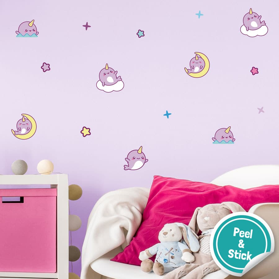 Narwhal wall stickers are a perfect way to decorate your child's bedroom, playroom or nursery with a cute, underwater theme