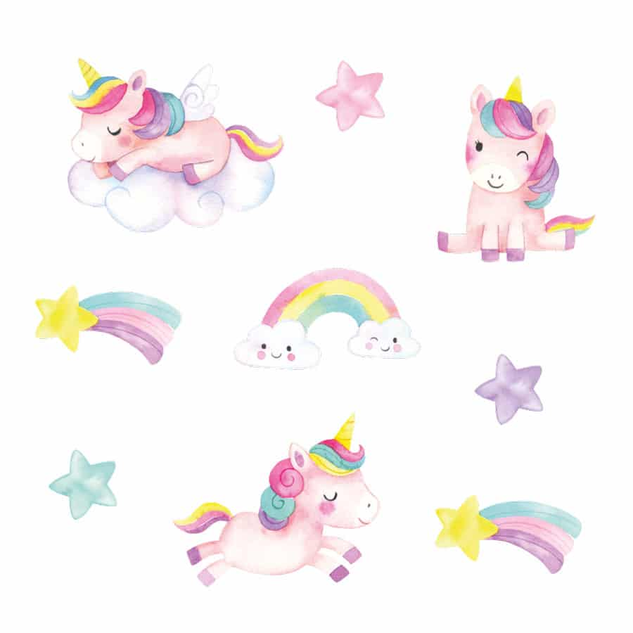 Unicorn and stars wall stickers on a white background