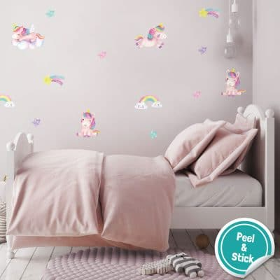 These unicorn and stars wall stickers are a great way to accessorise a unicorn themed bedroom.