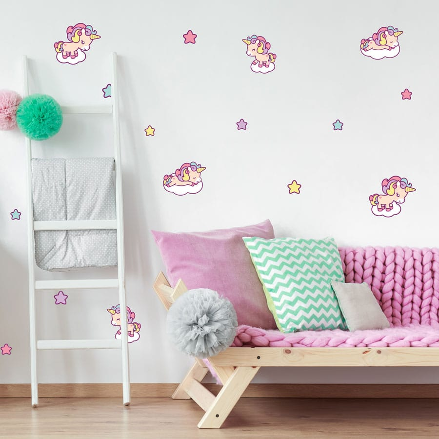 This cute unicorn wall sticker pack is a great way to accessorise a unicorn themed bedroom.