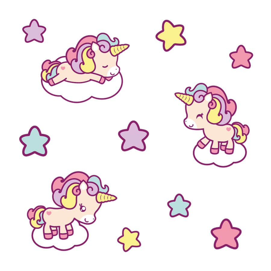 Cute unicorn wall sticker pack on a white background