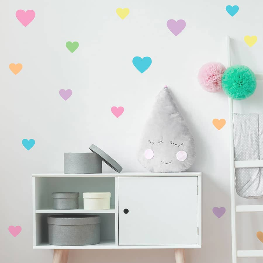 rainbow heart wall stickers from our peel and stick collection quick and easy to apply to decorate your childs room
