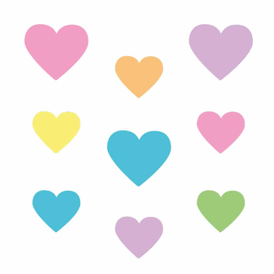 rainbow heart wall stickers on a white background