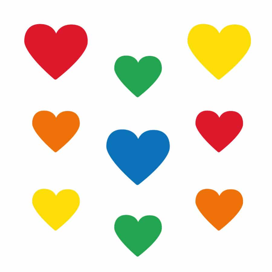 Bright rainbow hearts wall stickers on a white background