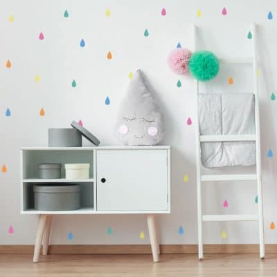 Colourful raindrop wall stickers (Option 1) perfect for decorating a child's bedroom simply peel and stick