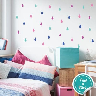 Colourful raindrop wall stickers (Option 2) perfect for decorating a child's bedroom simply peel and stick