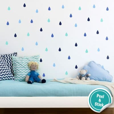 Colourful raindrop wall stickers (Option 3) perfect for decorating a child's bedroom simply peel and stick