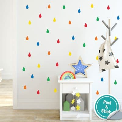 Colourful raindrop wall stickers (Option 4) perfect for decorating a child's bedroom simply peel and stick