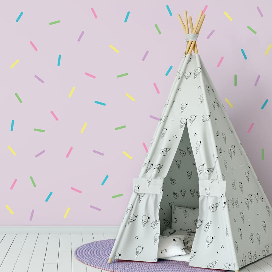 Sprinkle wall stickers (Bright) are perfect for decorating your child's room with a simple colourful theme