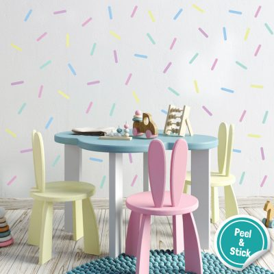 Sprinkle wall stickers (Pastel) are perfect for decorating your child's room with a simple colourful theme
